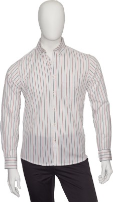 Cotton Natural Men's Striped Casual White Shirt