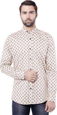 Tag & Trend Men's Printed Casual Yellow Shirt