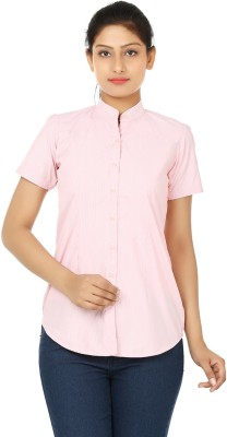 UrSense Women's Striped Formal Pink Shirt
