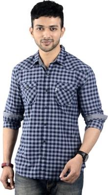 ST. GERAMIN Men's Checkered Party Dark Blue Shirt