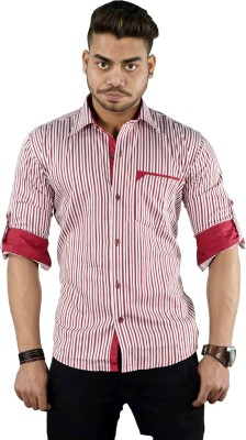 Your Desire Shirts Men's Striped Casual White, Red Shirt