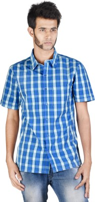Corpus Men's Checkered Casual Blue Shirt