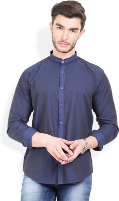 Urban Attire Men's Self Design Casual Blue Shirt