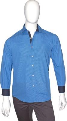 Cotton Natural Men's Checkered Casual Blue Shirt