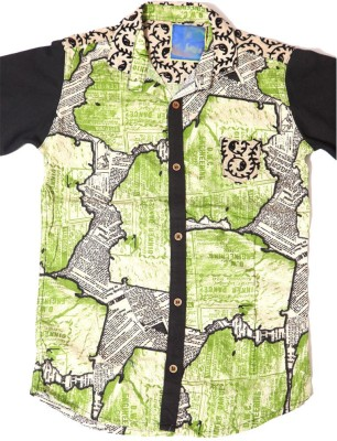 Kidicious Boy's Printed Casual Green, White, Black Shirt