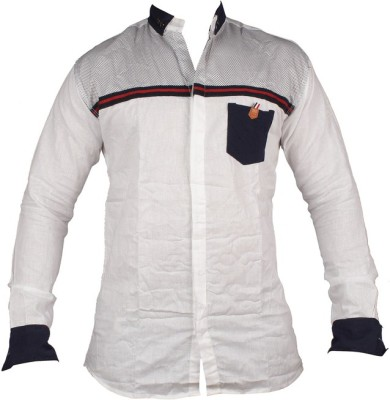 ZEDX Men's Striped Casual White Shirt