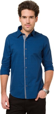 Mode Manor Men's Printed Casual Blue Shirt