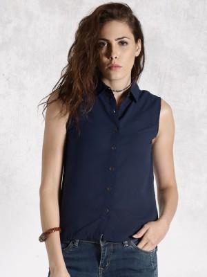 Roadster Women's Solid Casual Dark Blue Shirt