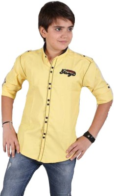 Kiddu Boy's Solid Casual, Party Yellow Shirt