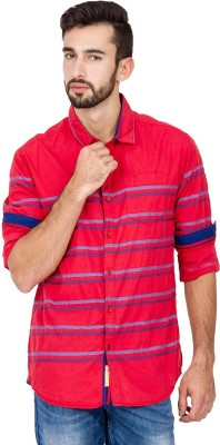 The Indian Garage Co. Men,s Striped Casual Red Shirt