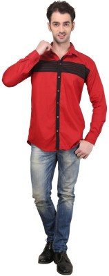Custom Paid Men's Solid Casual Red Shirt
