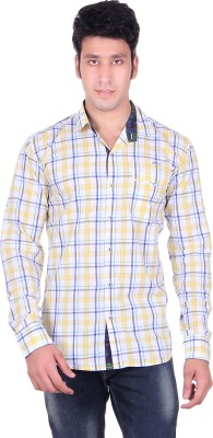 PICKLE Men's Solid, Checkered Formal Yellow Shirt