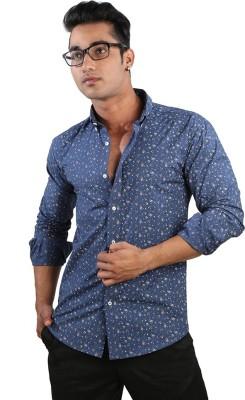 Just Differ Men's Polka Print Casual Blue Shirt