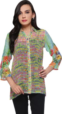 Delfe Women's Printed Casual Green Shirt