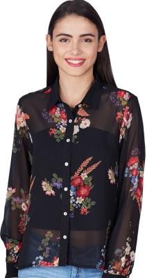 American Swan Women's Printed Formal Black Shirt