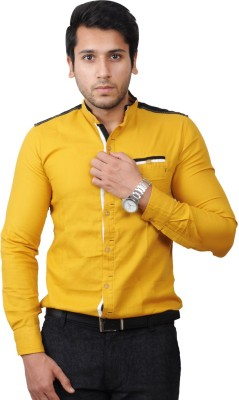 Flakes Fashion Men's Solid Casual Yellow Shirt