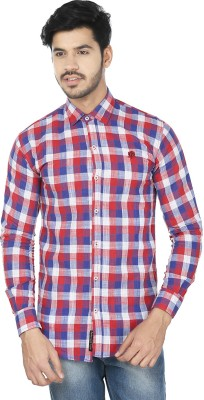 Perky Look Men's Checkered Casual Red, Blue Shirt