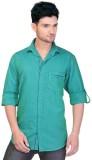 Goplay Men's Striped Casual Green Shirt
