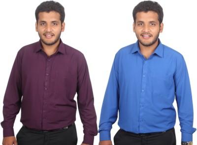 Maharaja Men's Solid Formal Blue, Purple Shirt
