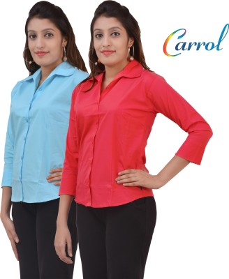carrol Women,s, Girl's Solid Formal, Casual Red, Blue Shirt