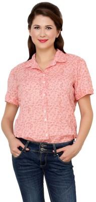 Vastrasutra Women's Printed Casual Pink Shirt