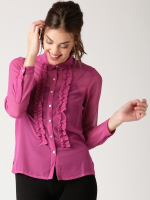 All About You Women's Solid Casual Pink Shirt