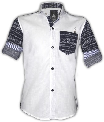 Fingerchips Boys Self Design Casual White, Black Shirt