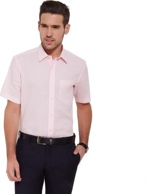 Urban Nomad By INMARK Men's Solid Formal Linen Pink Shirt
