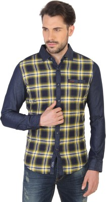 Being Human Men's Checkered Casual Yellow Shirt