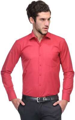Nexq Men's Solid Formal Red Shirt