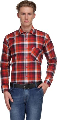 Ausy Men's Checkered Casual Red Shirt