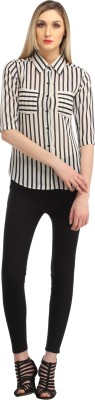 Cation Women's Striped Casual Black, White Shirt