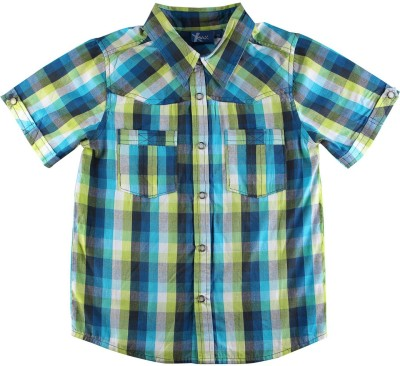 Eves Pret A Porter Boys Checkered Casual Blue, Green Shirt