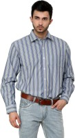 Cotton County Formal Shirts (Men's) - Cotton County Men's Striped Formal Purple Shirt