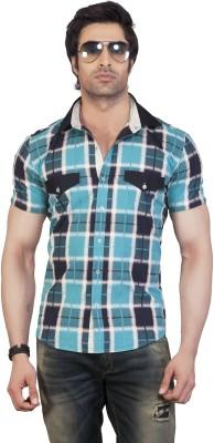Eden Elliot Men's Checkered Casual Blue Shirt