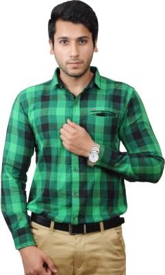 Flakes Fashion Men's Checkered Casual Green Shirt