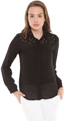 The Vanca Women's Solid Casual Black Shirt