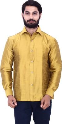 KENRICH Men's Solid Formal Gold Shirt