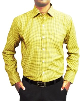 Shine Shirts Men's Checkered Formal Yellow Shirt