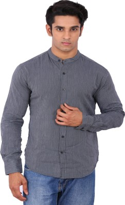 Rat Trap Men's Striped Casual Grey Shirt
