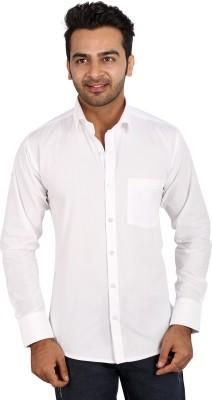 Regza Men's Solid Formal White Shirt