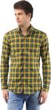 Orizzonti Men's Checkered Casual Yellow ...