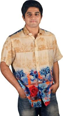 Riverbero Men's Self Design Casual Yellow Shirt