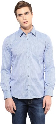 London Bridge Men's Checkered Formal Blue Shirt