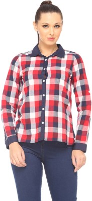Zaivaa Women's Checkered Casual Red Shirt