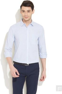 Coast Men's Striped Formal Blue Shirt