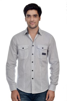 Parv Collections Men's Striped Casual White Shirt