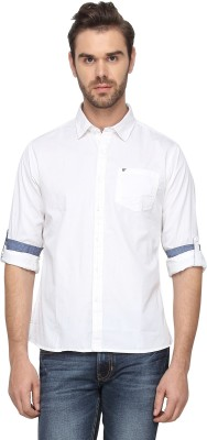 T-Base Men's Solid Casual White Shirt