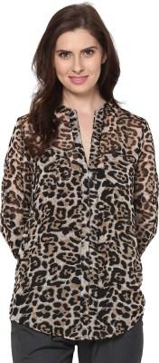 Trend18 Women's Animal Print Casual Brown, Black Shirt