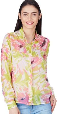 American Swan Women's Printed Formal Green Shirt